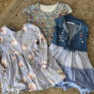 3 Girl's dresses - LOT - blue with flowers
